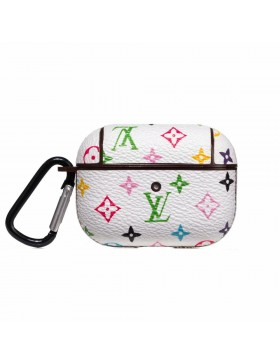 Louis Vuitton AirPods Pro Case Skin Charging Protective Cover Small Monogram Multicolor White