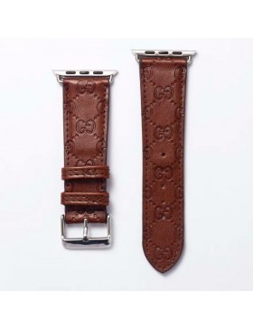 Gucci Apple Watch Band Strap Classic Embossing Leather Brown