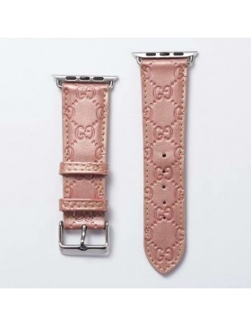 Gucci Apple Watch Band Strap Classic Embossing Leather Pink