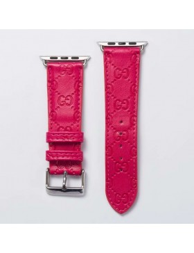 Gucci Apple Watch Band Strap Classic Embossing Leather Plum