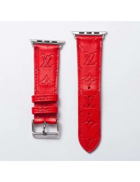 LV Apple Watch Band iWatch Strap Embossing Red
