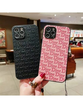 Dior iPhone Case Embossing Back Cover Black Pink
