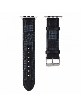 LV Apple Watch Band Strap Genuine Leather Match Color Damier Graphite
