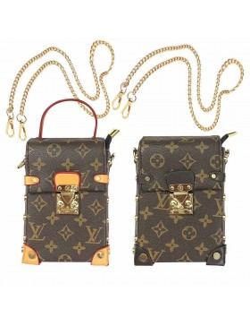 LOUIS VUITTON LEATHER CROSSBODY CELL PHONE PURSE