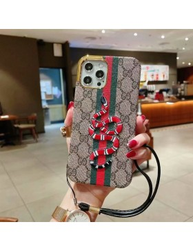 Gucci iPhone Plating Case Ribbon Snake Skin Cover
