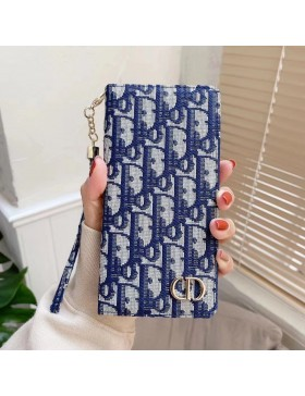 Dior iPhone Series Leather Wallet Case Blue
