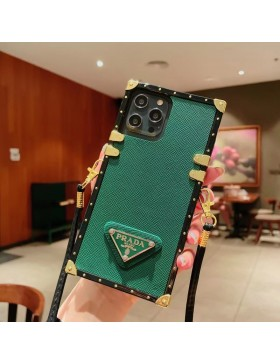 Prada iPhone Case Square Eye Trunk Cover With Strap Green
