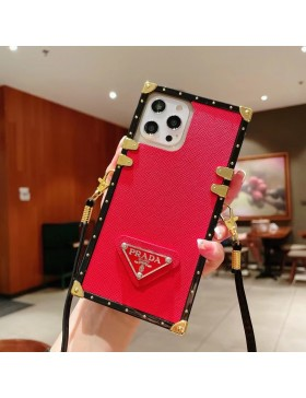 Prada iPhone Case Square Eye Trunk Cover With Strap Red