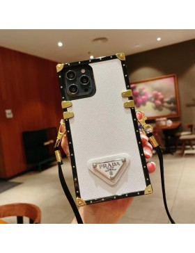 Prada iPhone Case Square Eye Trunk Cover With Strap White