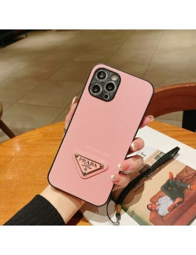 Prada iPhone Case Precision hole Back Cover With Wristband Pink