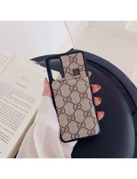 Gucci Galaxy S20 / S20 Plus / S20 Ultra Card Case Back Cover Brown