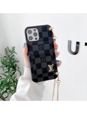 Louis Vuitton iPhone Bumper Card Holder Case With Chain Graphite