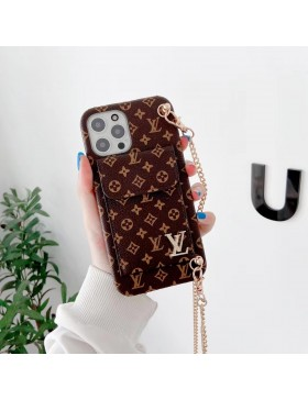 Louis Vuitton iPhone Bumper Card Holder Case With Chain Brown