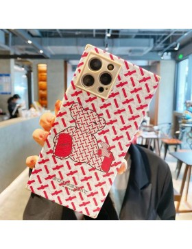 Burberry iPhone 11 12 Square Case Bear Cover Red White