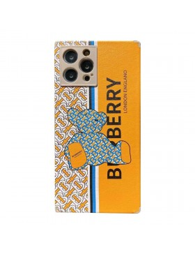 Burberry iPhone 11 12 Square Case Bear Cover Yellow