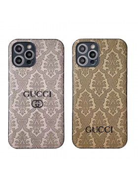 Gucci iPhone 11 12 Pro Max Case Full Embossing Skin Back Cover