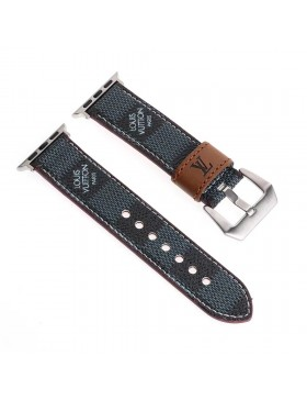 LV Apple Watch Leather Band Strap Damier Graphite