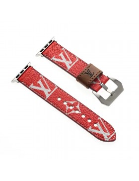 LV Apple Watch Leather Band Strap Monogram Red