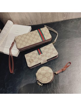 Crazy Horse Leather Gucci iPhone Wallet Case+AirPods Bag+Clutch Purse