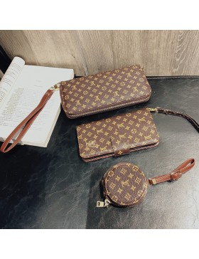 Crazy Horse Leather Louis Vuitton iPhone Galaxy Wallet Case+AirPods Bag+Clutch Purse Multi