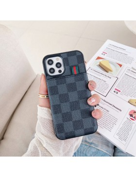 Louis Vuitton iPhone Case Pull Card Cover Damier Graphite
