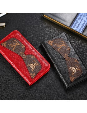 LV iPhone Genuine Leather Wallet Case Glasses Design In Embossing