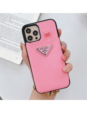 Prada iPhone Pull Card Case Back Cover Cross Pattern Pink