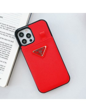 Prada iPhone Pull Card Case Back Cover Cross Pattern Red