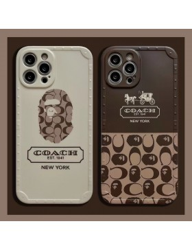 Coach X APe iPhone Case Frosted Soft Back Cover