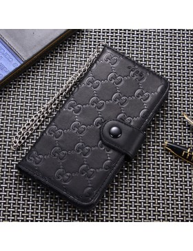 Gucci iPhone Leather Wallet Case Embossing Black In Side With Strap
