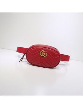 GUCCI 476434 GG Marmont Belt Bag Red Chevron Quilted Leather