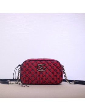Gucci GG Marmont Canvas Small Shoulder Bag Red 447632