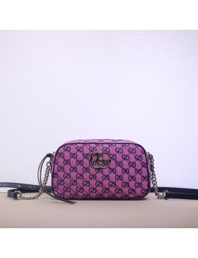 Gucci GG Marmont Canvas Small Shoulder Bag Pink Purple 447632