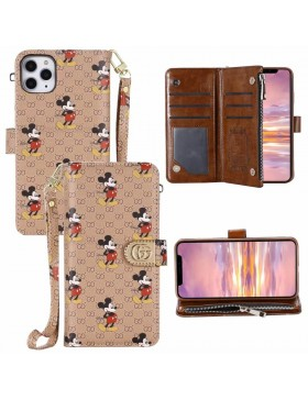 Gucci & Mickey iPhone Wallet Case Crazy Horse Leather