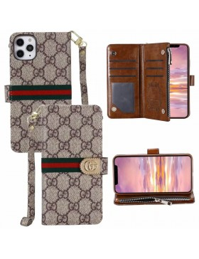 Gucci iPhone Crazy Horse Leather Wallet Case Classic Brown