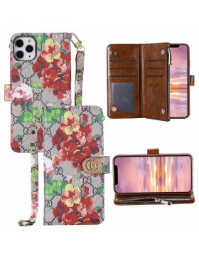 Gucci iPhone Crazy Horse Leather Wallet Case Flower