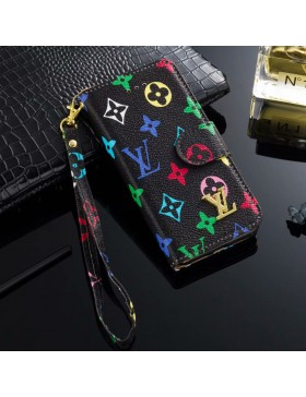 LV iPhone Wallet Case Leather Stand Cover Black