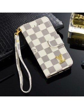 LV iPhone Wallet Case Leather Stand Cover Azur