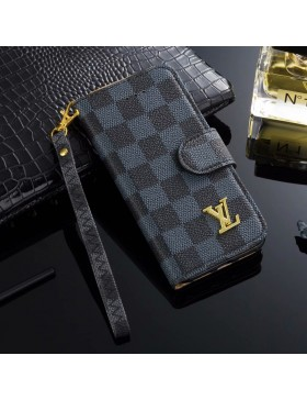 LV iPhone Wallet Case Leather Stand Cover Graphite