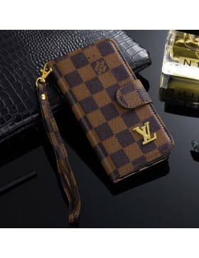 LV iPhone Wallet Case Leather Stand Cover Brown