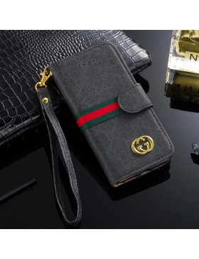 Gucci iPhone Wallet Case Stand Cover Black