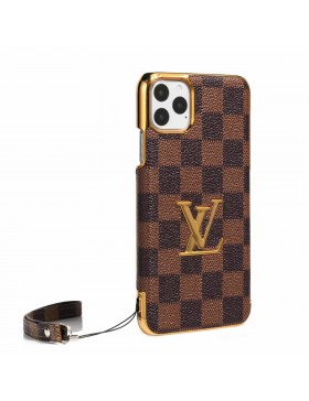 LV iPhone Case Plating Back Cover Damier Canvas