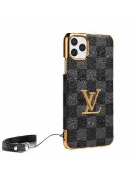 LV iPhone Case Plating Back Cover Damier Graphite