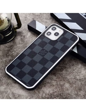 Louis Vuitton iPhone Case Hard Shell Cover Damier Graphite White Round