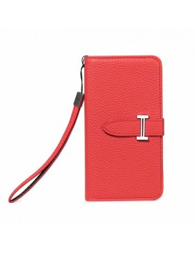 Hermes iPhone Leather Wallet Case Red