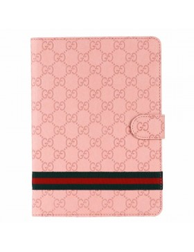 Gucci iPad Leather Case Stand Cover Ribbons Embossed Pink
