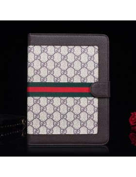 Gucci iPad Leather Case Stand Cover Ribbons Brown