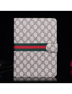 Gucci iPad Leather Case Stand Cover Classic Brown