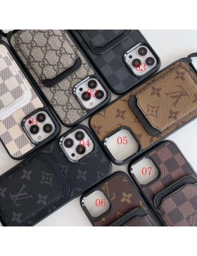 Louis Vuitton iPhone 13 Series Case Card Pocket Cover Hanging Hole Design