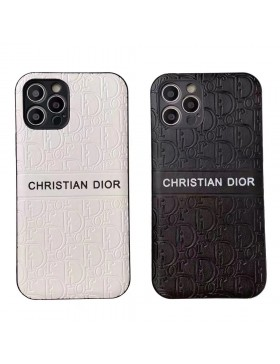 Dior iPhone 11 12 Pro Max Case Full Embossing Skin Back Cover